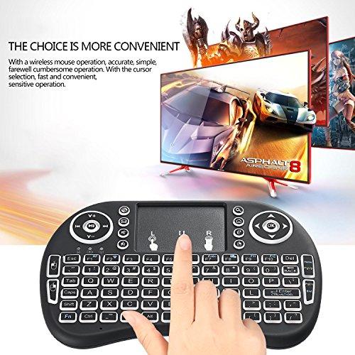 Mini drahtlose Tastatur, Wishpower 2,4Ghz mini wireless Keyboard LED Hintergrundbeleuchtung Ergonomische tastatur mit touchpad für tastatur Smart TV, Raspberry Pi 3, PC fernbedienung (weiß) - 7