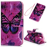 Huawei Y625 Hülle Leder Case,KASOS Huawei Y625 Handyhülle Bunt Gemalt Ledertasche Book Type PU Leder +TPU Innere Tasche Brieftasche und Magnetverschluss Schutzhülle,Großer Schmetterling
