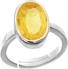 Accurate Traders Natural Pukhraj Stone Silver Adjustable Ring 3 Ratti (2.73 carats) Rashi Ratna Origional and Certified by GEMOLOGICAL LABORATORY OF INDIA (GLI) Yellow Sapphire Precious Gemstone Chandi Free Size Anguthi Unheated and Untreated Top Quality Gems for Astrological Purpose by Accurate Traders