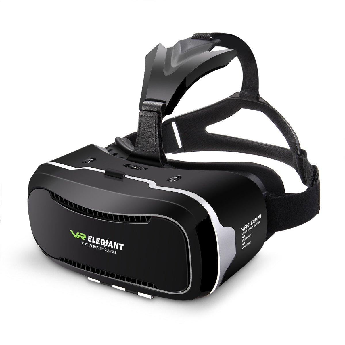 ELEGIANT GénérationII 3D VR Lunettes Casque Réalité Vituelle 4»- 6» Compatible avec Iphone 6 6S Plus 5 5S Samsung Note 2 Note 3 Galaxy S6 HTC One Experia T2 Ultra etc