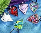 Ecloud Shop 6 Farben Murano Lampwork Transparente Glas Herz Anhänger Halskette FASH