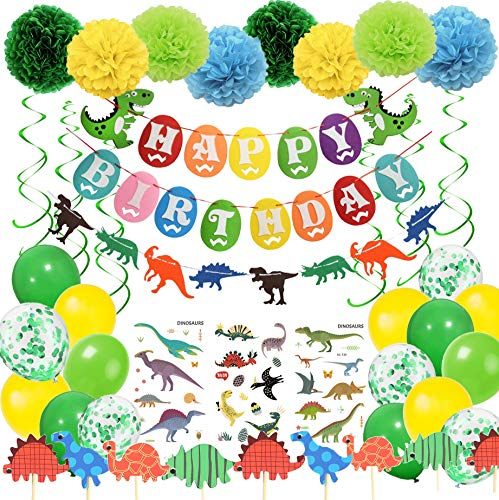 e Dinosaurier HAPPY BIRTHDAY Girlande mit Pompoms Dinosaurier Kuchen Topper Luftballons Grün und Gelb für Dschungel Party Kinder Dinosaurier Party Dekoration ()
