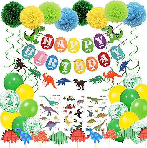 Geburtstag Deko Junge Dinosaurier HAPPY BIRTHDAY Girlande mit Pompoms Dinosaurier Kuchen Topper Luftballons Grün und Gelb für Dschungel Party Kinder Dinosaurier Party Dekoration