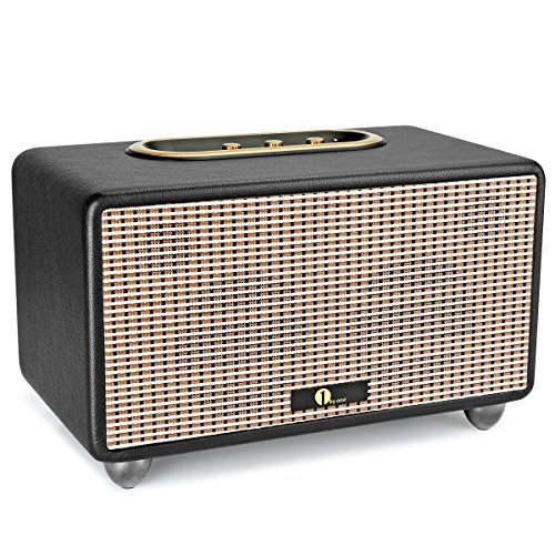 1byone-Altoparlante-Stereo-HIFI-con-Bluetooth-Ingresso-da-35mm-Bassi-e-Acuti-Regolabili-Copertura-in-Legno-Involucro-in-Pelle-Sintetica