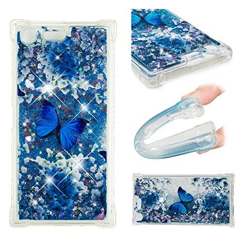 Misstars Glitzer Flüssig Hülle für Sony Xperia XZ Premium, Bling Transparent Weich TPU Silikon mit Muster Blau Schmetterling Design Backcover Ultra Slim Kratzfeste Stoßfest Schutzhülle -