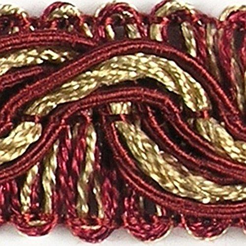 Posamentenborte 1,0 m / Breite 16 mm / Farbe Rot & Gold / Brokatborten Dekoborte Bordüre Borte mit Posamenten Fransen Brokat Spitze Bordüre...