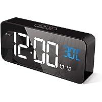 Goeco LED Réveil numérique, Horloge Alarme, Surface Miroir Double réveil avec Contrôle du Son, Batterie intégrée ou…