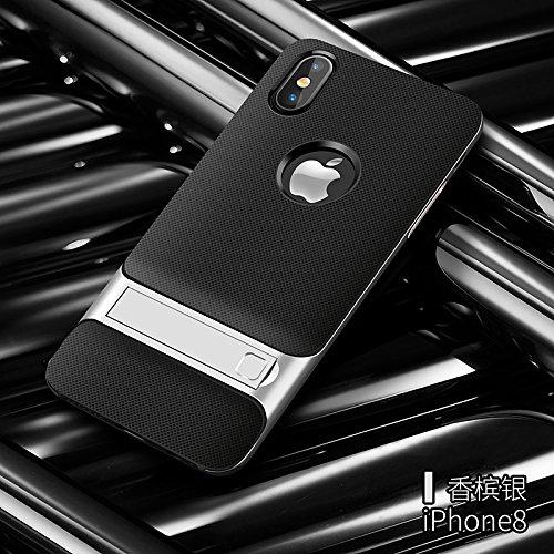 BCIT iPhone 8 Custodia - ibrida Morbido resistente agli urti + Bumper Frame Dual Layer Case con Supporto di protezione per iPhone 8 - Grigio Argento