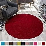 SANAT Teppich Rund - Rot Hochflor, Langflor Modern Teppiche fürs Wohnzimmer, Schlafzimmer, Esszimmer oder Kinderzimmer, Größe: 80x80 cm
