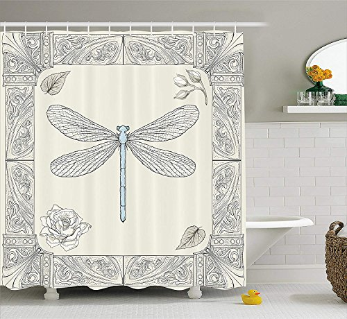 JIEKEIO Dragonfly Shower Curtain, Hand Drawn Royal Ancient Style Rose Petals Leaves and Ornate Figures Design, Fabric Bathroom Decor Set with Hooks,60 * 72inch, Black Light Blue Hand-seersucker