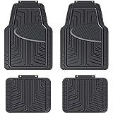 Amazon Basics Lot de 4tapis de sol en caoutchouc pour voitures, SUV et camionnettes Toutes saisons Noir