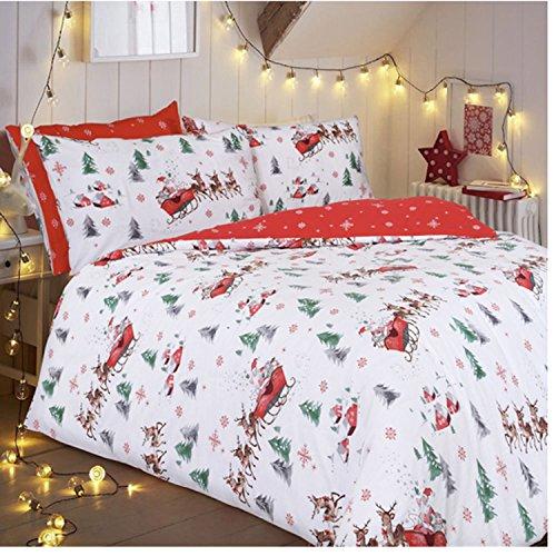 Santa Schlitten Weihnachten Quilt & Pillow Case Cover King Size Doppelbett Einzelbett Weihnachten Betten (Weihnachten Deals), Einzelbett