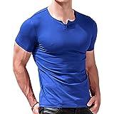 Alivebody Camiseta Henley Slim Fit Manga Corta Para Hombre con Botón
