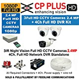 Cp Plus CCTV Full HD CP-UVR-0401E1S 4CH DVR 01 Pcs + Cp plus Full HD 2.4mp Dome IR CCTV Camera 2Pcs + Cp plus full HD 2.4mp Bullet IR CCTV Camera 1 Pcs +1TB HDD + 4-CH Power Supply 1 Pcs + BNC & DC Connectors & 3+1wire roll 1-pc