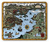 Compass Mouse Pad, Antique Map Rivers and Land Full of Monsters Pirates Giant Creatures Fantasy Art, Standard Size Rectangle Non-Slip Rubber Mousepad, Olive Blue