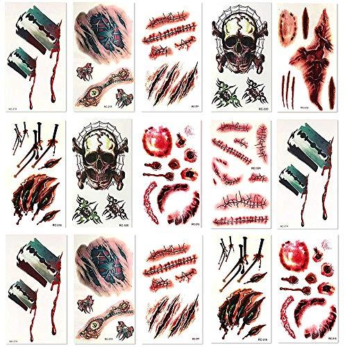 8 Blätter temporäre Wunden, Ritzen und Narben Tattoos – ideal für Halloween Partys – realistisch aussehende Horror und Zombie Motiv Aufkleber!