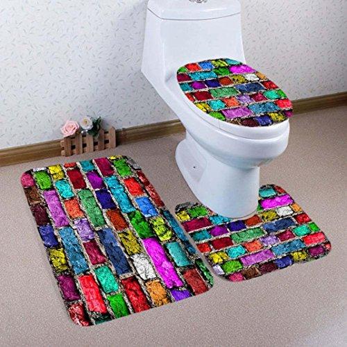 iliges Badezimmer-Sets, Toilettenvorleger Teppich + Deckel WC-Deckelbezug + Badteppich Set a (Halloween-wc-sitz-deckel)