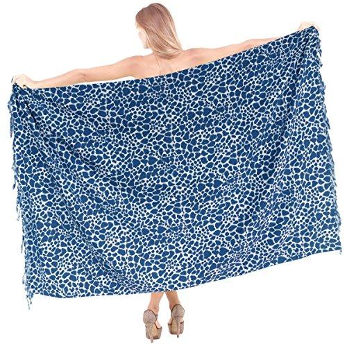 La Leela likre Tierhaut Strand schwimmen Pareo Sarong wickeln gedruckt vertuschen Blau