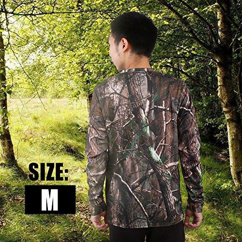 Sommer Woodland Tarnmuster (Zerone Langärmlige T Shirts aus Baumwolle und Kurze Ärmel Eigenschaften Woodland Camo Long Sleeve Crew T-Shirt Camping Outdoor Sports(M))