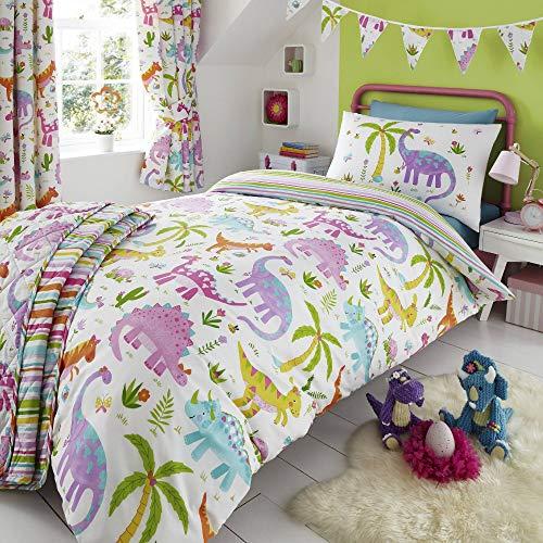 Happy Linen Company Mädchen Bettwäsche-Set - Dinosaurier-Motive - wendbar - Rosa & Weiß - Einzelbett (Dinosaurier-kinderzimmer Bettwäsche)