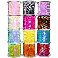 Pack 12 Rollos de Lentejuelas - Carretes de Lentejuelas Brillantes, Colores Variados para Manualidades con Lentejuelas - Hacer Patrones para Vestidos, Decoraciones de Collares Brazaletes - Artes y Manualidades