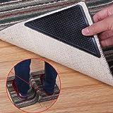 TinkSky 15 x 7,5 cm, riutilizzabile, forma triangolare, in gomma antiscivolo per tappeto da pavimento, tappo Nastro adesivo, set composto da 4 pezzi, colore: Nero