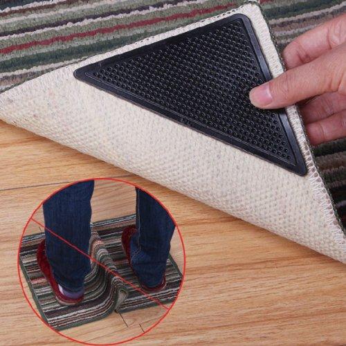 Museya 15 * 7,5 cm wiederverwendbar Dreieck-Form Anti-Rutsch Gummi Boden Teppich Matte Teppich Greifer Stopper Band Aufkleber - 4 Stk/Set (schwarz)