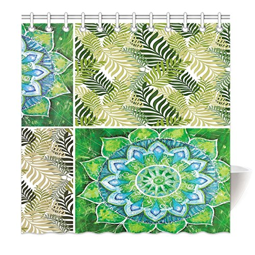 KOPPPU Shower Curtain Hem Weights Mandala Natural Leaves Palm Natural Spring Summer, Polyester, White, 150 x 180 cm - Palm Leaf White