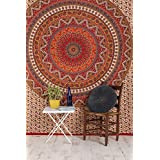Naranja, elefante indio Mandala Stickset, Escena Hippie, tapices, tapices, Stickset para mural, India Stickset, Hojas de Bohemia Escena psicodélicos