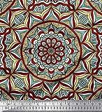 Soimoi Rot Viskose Chiffon Stoff Mandala Kaleidoskop Stoff