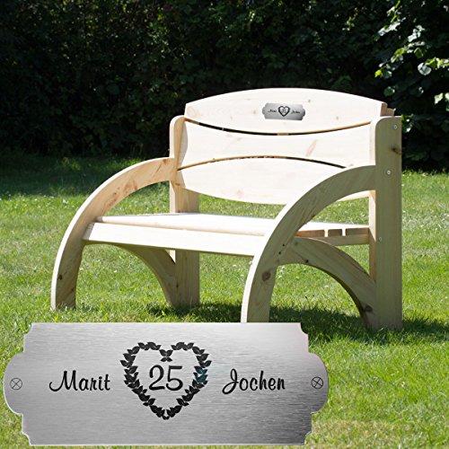 Geschenke 24: Personalisierte Gartenbank zur Silberhochzeit - eine originelle Geschenkidee mit Namen graviert – Hochzeitsgeschenke zum 25. Hochzeitstag für das Ehepaar (Natur )