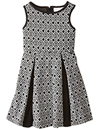 Us Angels Little Girls' Aztec Double Knit Dress with Pleated Skirt