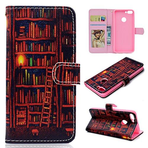 YKTO Hülle für Huawei Honor 7C Y7 2018 Enjoy 8 Etui Magnetisch Klapphülle Stand schützend Handyhülle Slim Weich Silikon Innere PU Leder Wallet Kartenfächer Fall Bücherregal - Slim Bücherregal