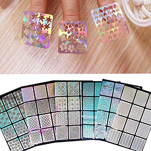 feiXIANG 6PCS Différents Styles Stencil Ongles Nail Art Stickers Set Designs Cute Nail Art Ongles Stencil Feuilles