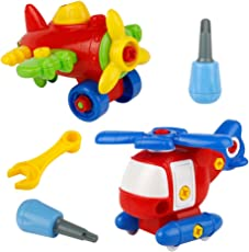 Set di due aeroplanini modello, giocattolo da montare, set costruzione aeroplano, per bambini 3 - 8anni