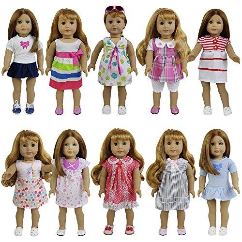 (ZTITA ELEMENT 8er Puppenkleider Kleidung für 36cm-46cm Babypuppen American Girl Doll Stehpuppen Puppenbekleidung)