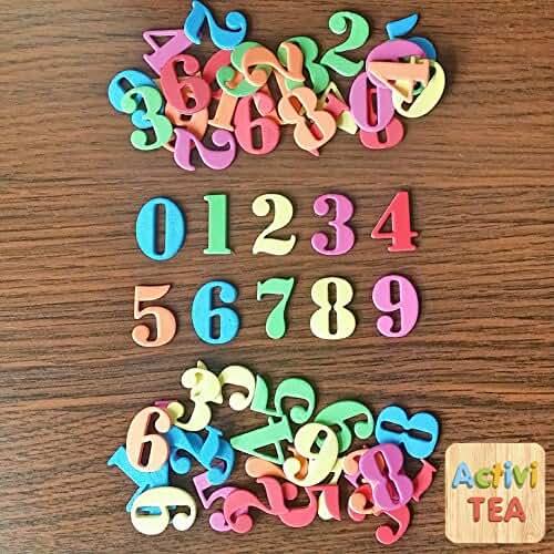 goma eva kawaii Números adhesivos de goma eva