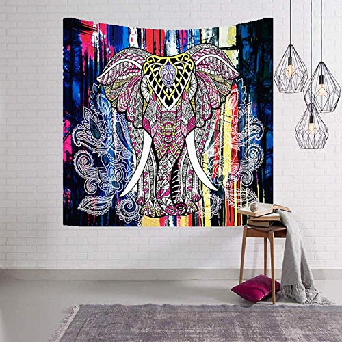 mvbmbbc Elefante Tapiz de Mandala étnico Tapiz de Pared Tapiz de Pared Manta Casa de Campo Decoración Estera de Playa Yoga Chal [Enviar Accesorios]