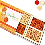 Ghasitaram Gifts Bhaidooj Orange Assorted Dry Fruits Box, 200 gms with Chandan tilak