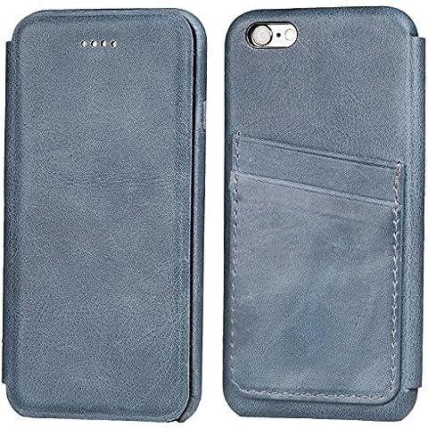Funda tipo folio FUTLEX de piel auténtica estilo retro para iPhone 6 / 6S - Azul – Diseño único – Ultra fina - Corte y diseño precisos – Hecha a