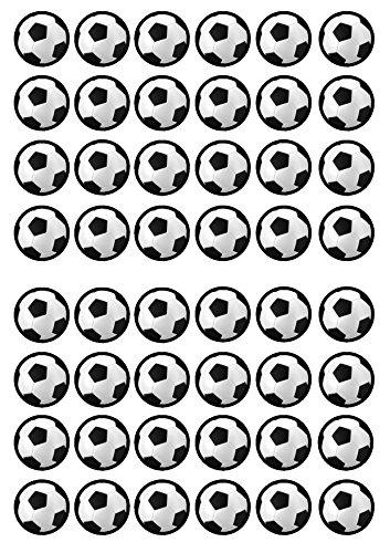 48 Football, Fußball, Essbare PREMIUM Dicke GEZUCKERTE Vanille, Reispapier Mini Cupcake Toppers, Cake Pops, Cookies für Wafer