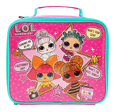 Lol suprise kids lunch bag, in poliestere, rosa, 8 (w) x 23 (d) x 19.5 (h) cm