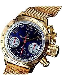 Reloj Cronógrafo de Hombre con Pulsera Dorada de Malla, Números Grandes, Esfera Azul y Diseño Alemán de Konigswerk AQ100127G