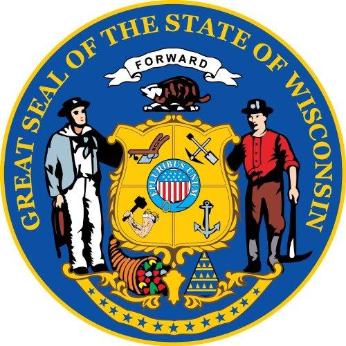Wisconsin State USA Seal Hochwertigen Auto-Autoaufkleber 12 x 12 cm - Wisconsin State Seal