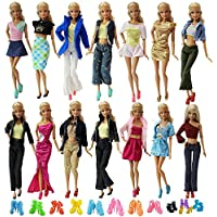 ZITA ELEMENT Lot 10 Set Mix Style Fashion Handmade Clothes Outfit + 10 Pairs Shoes for Barbie Dolls And Other 30cm/11.5inch Dolls
