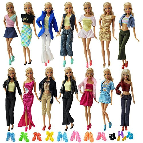 ZITA ELEMENT Ropa Barbie 20 Piezas Hecha a Mano=10 Conjuntos Vestidos de Estilo de Mezcla de Moda Ropa + 10 Pares de Zapatos -Para Ajustarse a Barbie Muñeca