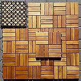 Holzfliesen (10 Stück) Holz-Klick Fliesen für Balkon und Terrasse aus Akazienholz 10tlg. Gartenfliesen aus Holz naturbraun