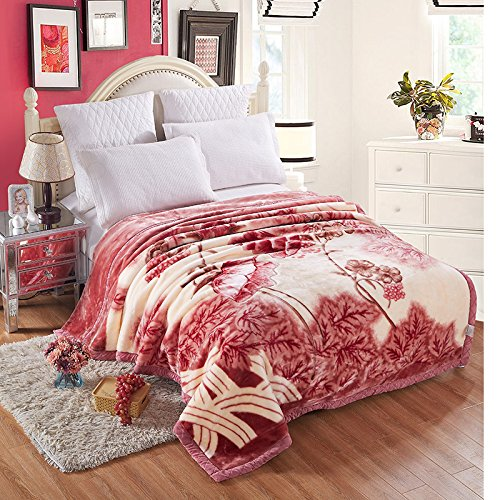 BDUK Romantische Serie Raschel Decke Hochzeit rot Winter mit einer doppelten Schicht von Dicken und im Herbst und Winter warme Decken, 3 kg Gewicht, 200*230cm