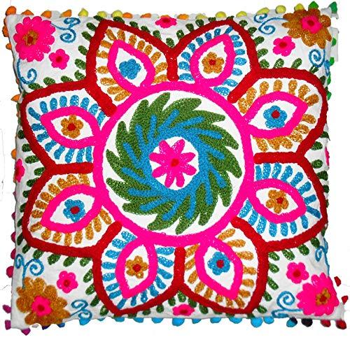 Funda de Almohada Tradicional Jaipur Suzani de 16 x 16 Pulgadas, Cojines de Exterior Indios, Manta Decorativa...