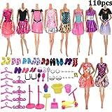 Jettingbuy, 10 Barbie-Kleider, 100 verschiedene Barbie-Accessoires wie Schuhe, Brillen, Halsketten, Krone und Spiegel